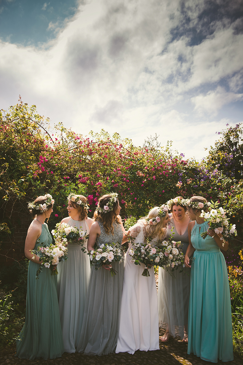 bridal party chatting