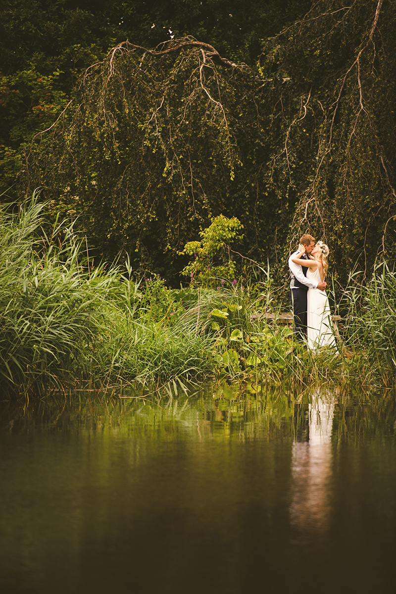 bride and groom couple shot at side of lake