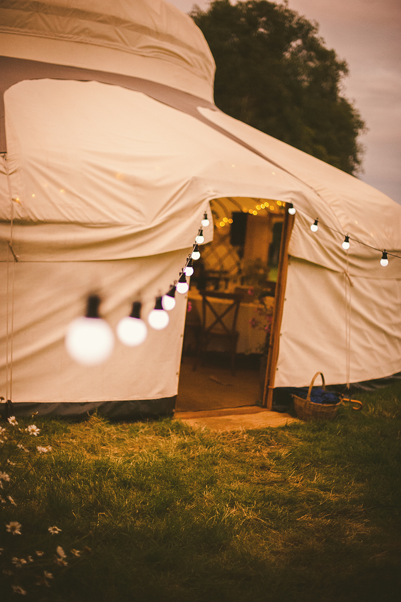 wedding marquee with festoon lights